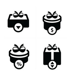 Set black gift and bubble talk icons vector