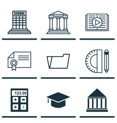Set of 9 school icons includes document case vector