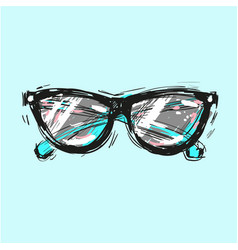 sunglasses hand drawn fashion vector image