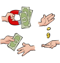 set of hands with money vector image