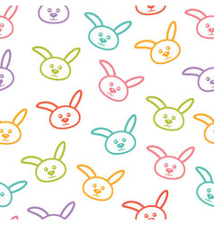 Seamless pattern with colorful bunnies vector