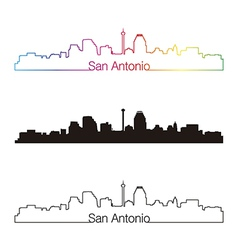 San antonio skyline linear style with rainbow vector