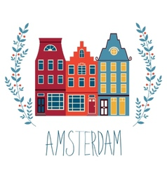 Cute amsterdam houses set vector