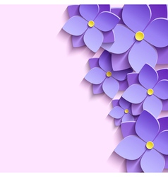 Decorative background with 3d flowers violets vector
