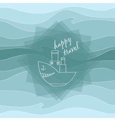 Steamer and waves vector