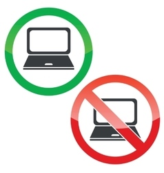 Laptop permission signs set vector