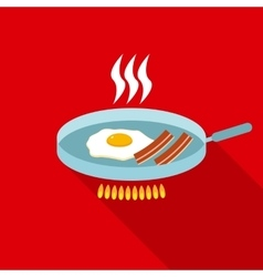 Fried egg with bacon for breakfast in flat style vector
