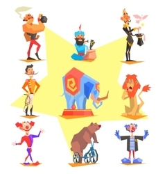 Circus collection with carnival fun fair vector
