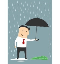 Businessman protecting money with umbrella vector