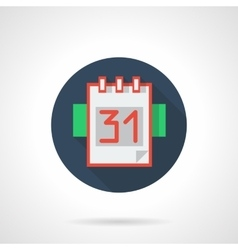 Calendar page 31 blue round flat icon vector