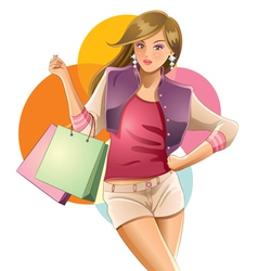 Colorful girl shopping vector