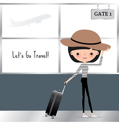 Cartoon woman travelling with a luggage bag vector