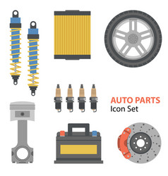 auto part flat set on white vector image