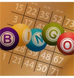 Bingo balls and numbers on brownpaper background vector