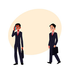 Black and caucasian businessmen in business suits vector