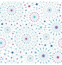 Blue abstract line art circles seamless pattern vector