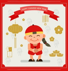 Chinese card chinese boy happy chinese new year vector