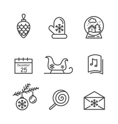 christmas icons colorless vector image