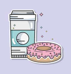 Coffee plastic cup and sweet donut vector