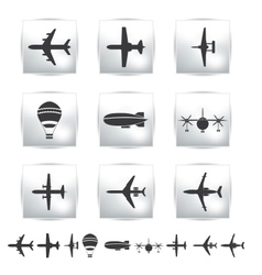 collection different airplane silhouettes vector image vector image