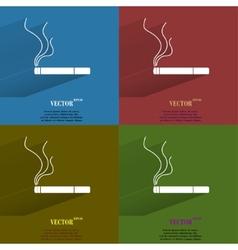 Color set Smoking sign cigarette Flat modern web vector image