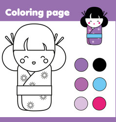 Coloring page with cute japanese kokeshi doll vector