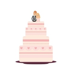 Delicious wedding cake with couple vector image