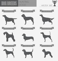 Dog breeds Hunting dog set icon Flat style vector image