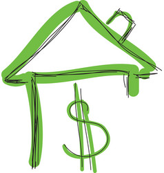 Drawn colored green house with dollar sign vector