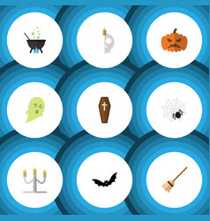 Flat icon halloween set of pumpkin spinner vector