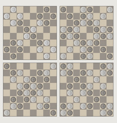 Four stylish ornaments of draughts vector