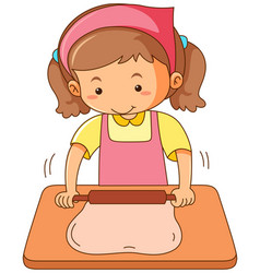 girl rolling flour dough on wooden board vector image