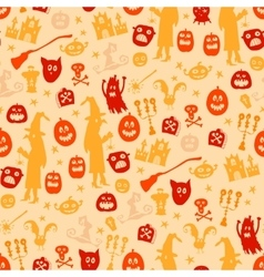 Halloween seamless silhouette doodle pattern vector image vector image