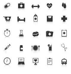 Health icons with reflect on white background vector