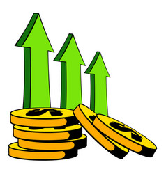 Increase of cash income icon cartoon vector