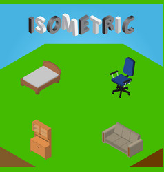 Isometric furniture set of cupboard couch office vector