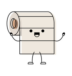 kawaii cartoon roll paper towel in colorful vector image