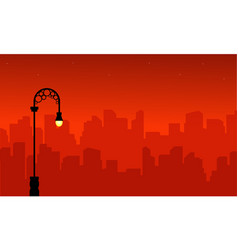 Landscape of street lamp with city silhouettes vector