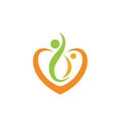 Love joy heart couple logo vector