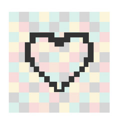 pixel heart icon on a square background vector image