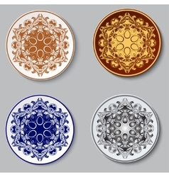 Plate with ornament Set vector image