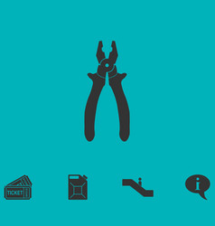 Pliers icon flat vector