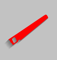 Saw simple sign red icon with soft shadow vector