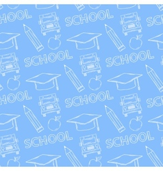 School seamless pattern on a blue background vector image