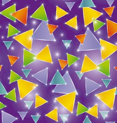 Seamless pattern glowing triangles on a purple vector image