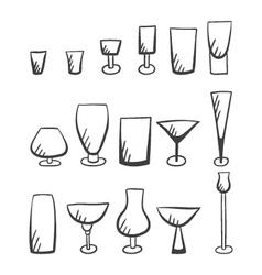 Set of doodle stemware-4 vector image