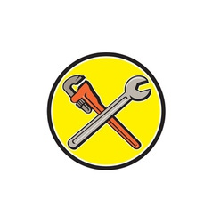 Spanner monkey wrench crossed circle cartoon vector