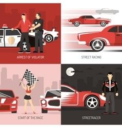 Street racing cocept 4 flat icons vector
