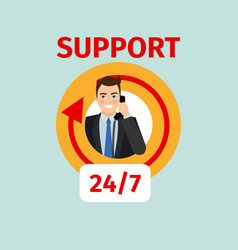 Support service circle icon with man vector