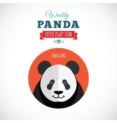 Weekly panda cute flat animal icon - smiling vector